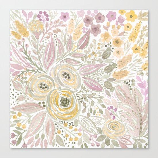 Watercolor . Flower meadow . 1 Canvas Print