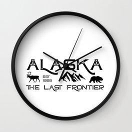 Rustic Alaska The Last Frontier Alaskan Outdoors Adventure Novelty Wall Clock