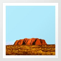 polygon Art Prints featuring uluru polygon by Matthias Hennig