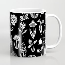 Linocut black and white floral botanical nature art pattern gifts home decor dorm college boho Coffee Mug