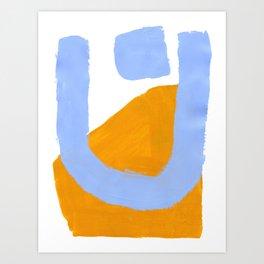 Minimalist Abstract Colorful Shapes Yellow Pastel Blue Mid Century Art Art Print