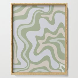 Liquid Swirl Contemporary Abstract Pattern in Light Sage Green Serving Tray