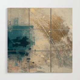 Embrace: a minimal, abstract mixed-media piece in blues and gold with a hint of pink Wood Wall Art