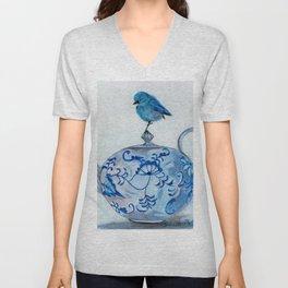 Blue Bird on Teapot Unisex V-Neck