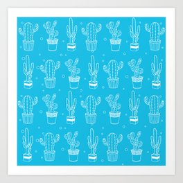 Blue And White Cactus Succulent Pattern Art Print