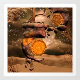 Fantasy world with flying rocks with clocks Art Print