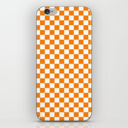 Small Checkered - White and Orange iPhone Skin