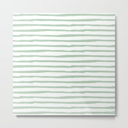 Elegant Stripes White and Pastel Cactus Green Metal Print