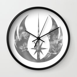 Gray Floral Jedi Order on White Wall Clock