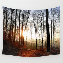 Sunset in the forest Wall Tapestry