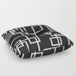 Geometric Cubic Line Pattern Black And White Floor Pillow