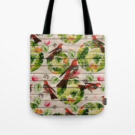 Rustic white wood tropical red green watercolor floral red birds Tote Bag