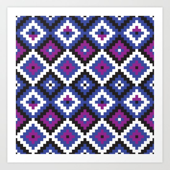 Aztec pattern - blue, purple, black, white Art Print