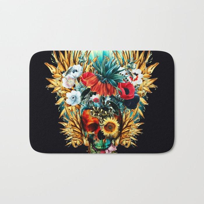 Floral Skull Vivid Bath Mat