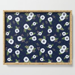 Anemone Floral Pattern Navy Blue Serving Tray