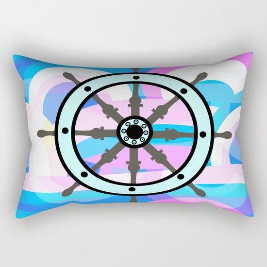 Ship's wheel on abstract marine background Rectangular Pillow