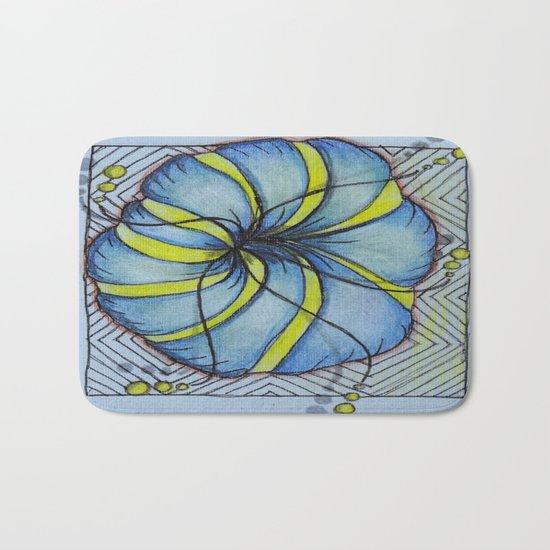 Blue and Yellow Zentangle Flower Bath Mat
