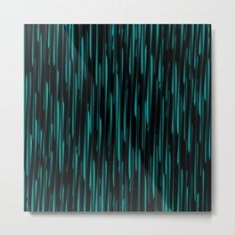 Vertical cross light blue lines on a dark tree. Metal Print