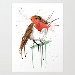 Christmas Robin Bird Art Print