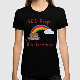Cute Noahs Ark God Keeps His Promises Rainbow T-shirt