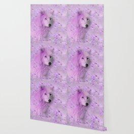 PURPLE WOLF FLOWER SPARKLE Wallpaper
