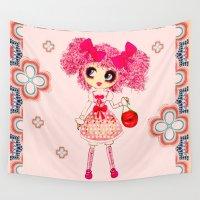 lolita Wall Tapestries featuring Kawaii Girl PinkyP Sweet Lolita Fashionista 2 by LeahG PinkyP creator