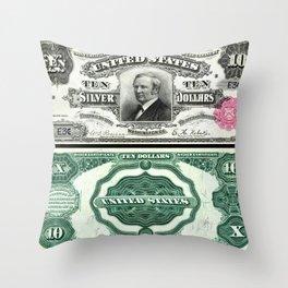 Vintage 1891 US $10 Dollar Bill Silver Certificate Wall Art Throw Pillow