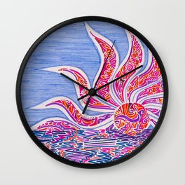 Hectic Sunset Wall Clock