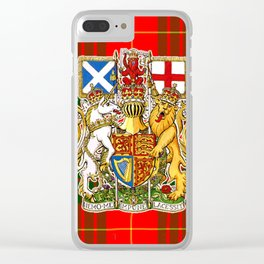 ROYAL SCOTS BANNER ON CAMERON PLAID TARTAN Clear iPhone Case