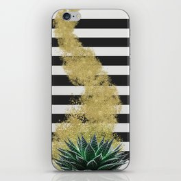 Modern plant and gold dust design iPhone Skin