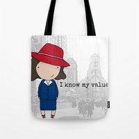 agent carter Tote Bags featuring Agent Carter by Jen Talley