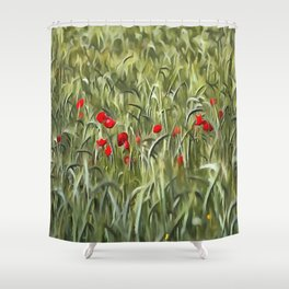 Cornfield Poppy Landscape Shower Curtain