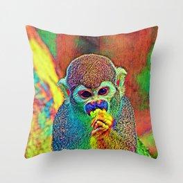 AnimalColor Monkey 002 Throw Pillow