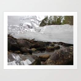 #406 BR CK UNDER ICE FORMATIONS, DAISY POND CRK BEFORE 1931 WOOD, ROCKS, ICE  Art Print
