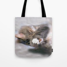 My Cat Actually Sleeps This Way Tote Bag