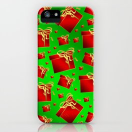 many little red gifts with golden bow on green iPhone Case