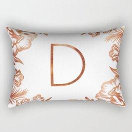 Letter D - Faux Rose Gold Glitter Flowers Rectangular Pillow