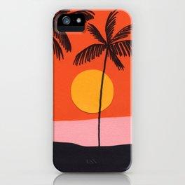Beach with Orange Sky iPhone Case