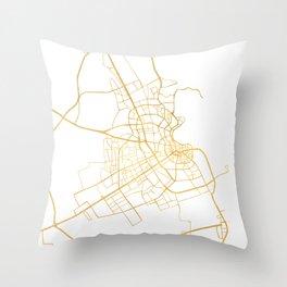 DOHA QATAR CITY STREET MAP ART Throw Pillow