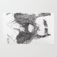moustache Area & Throw Rugs featuring Moustache by Paul Nelson-Esch Art