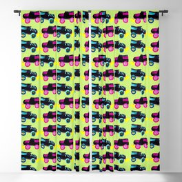 Roller Derby Skates Pattern on Lime Green Blackout Curtain