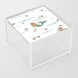 Fashionable mermaid - white Acrylic Box