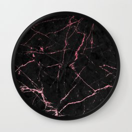 Rose Gold Glitter and Black Marble Wall Clock