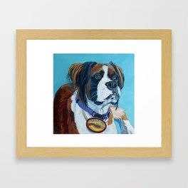 Nori the Therapy Boxer Dog Portrait Framed Art Print
