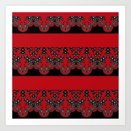 Red vintage lace on black background . Art Print