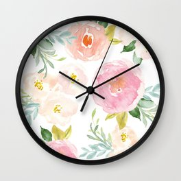 Sweet Pink Blooms (Floral 02) Wall Clock