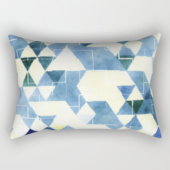Abstract Blue Triangles, Watercolor Pattern Rectangular Pillow