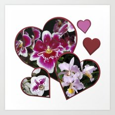 Hearts and Orchids Art Print