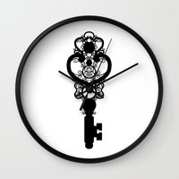key Wall Clocks featuring Key by Thedustyphoenix
