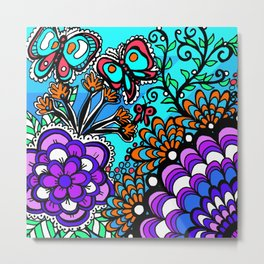 Doodle Art Flowers and Butterflies Metal Print